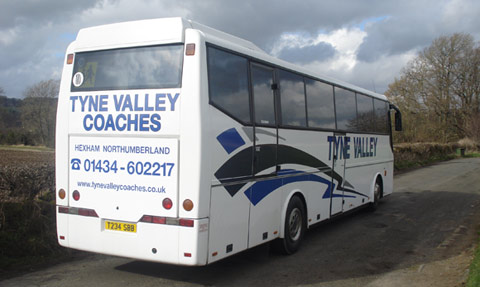 Tyne Valley Coaches, Hexham, Bova Futura Coach rear photo