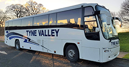 Tyne Valley Coaches Volvo B12M Plaxton Panther coach with 53 leather seats air conditioning and a toilet